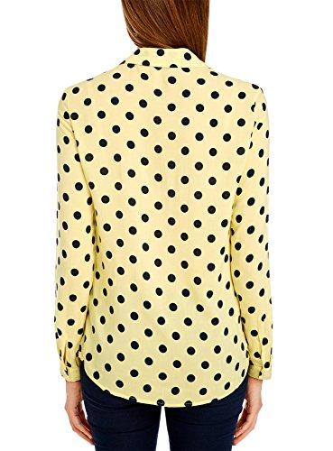 oodji Ultra Mujer Blusa Recta de Viscosa Amarillo (5029D)