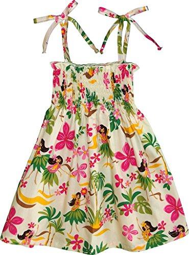 RJC Girl's Hula Spring Hawaiian Smocked Dress Beige -