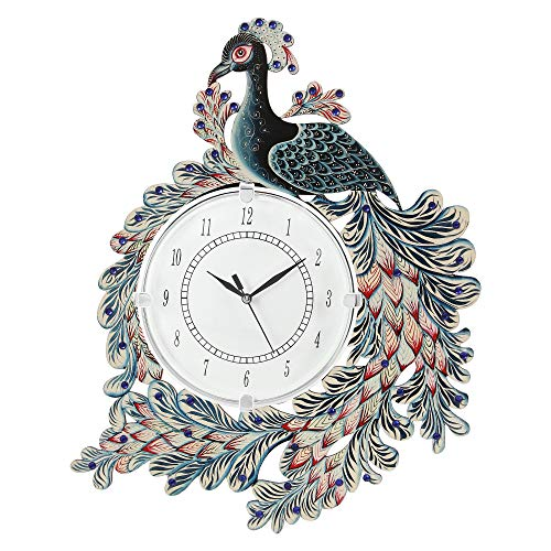 CAPIO ART Wooden Antique Wall Clock Peacock Handpainted for Home Wall Decor Stylish Round Shape Handmade Clocks Vintage…