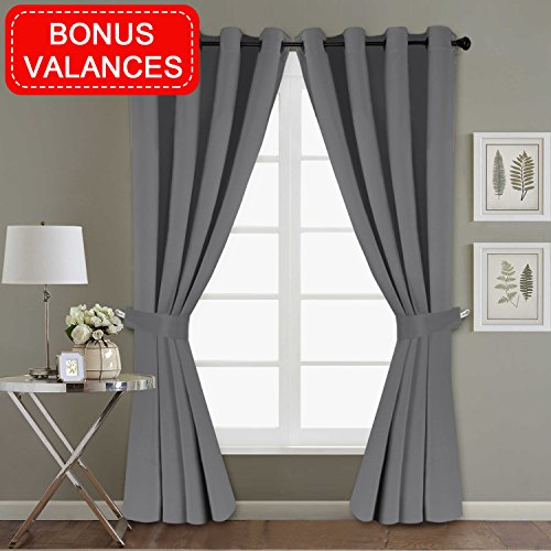 H.VERSAILTEX Blackout Blind Curtain for Bedroom Window Treatment Set (Gray/Grey) Thermal Insulated Drape Shade with Grommet for Sliding Glass Door (2 Panels of 52