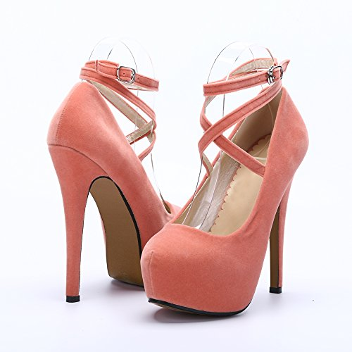 Chaussures Plateforme Escarpins Epais Club Bride 2 Aiguille Sexy Pêche Femme OCHENTA Soiree Lacets Fermeture Talon Cheville Aqw4AaP