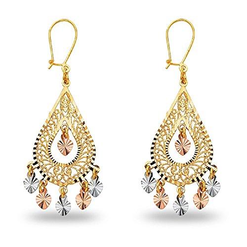 Chandelier Teardrop Earrings 14k Yellow White Rose Gold Hanging Hearts Diamond Cut Fancy 41 x 17 mm ()