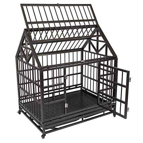 Haige Pet Your Pet Nanny Heavy Duty Dog Crate Cage Kennel Strong Metal for Large Dogs, Easy to Assemble Pet Playpen with Patent Lock & Four Wheels by Haige Pet Your Pet Nanny (Image #3)