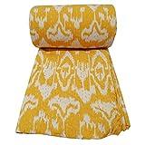 India Ikat Print Kantha Quilt Throw Home Decor Bedding Bedspread Gudri Indian Kantha Quilt Yellow Kantha Blanket , Bed Decorative Cotton Raill 90x108 Inch.