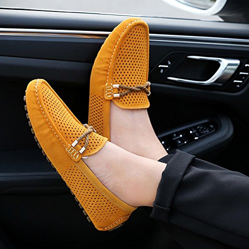 Abby A007 Hombres Active Boat Zapatos Transpirable Holes Pods Sole Leisure Non Skid Sports Lissom Conducción Walking Fashion Simple Toe Enérgico Mocasines Comfy Slip On Yellow