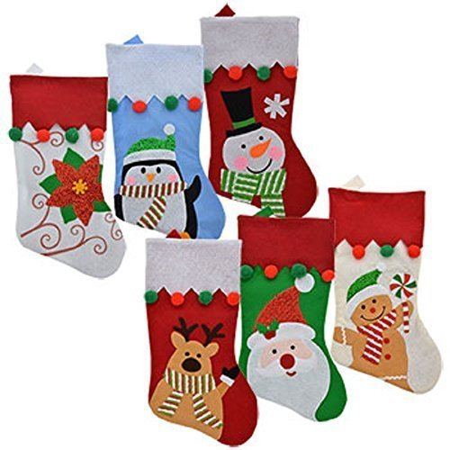 Set of 6 Pack: Christmas House Felt Christmas Character Stockings with Pom-Pom Embellishments, 18 -