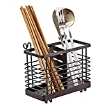 Hanging 2 Compartments Mesh Utensil Drying Rack/ Chopsticks/Spoon/Fork/Knife Drainer Basket Flatware Storage Drainer (Square)
