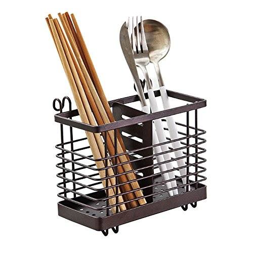 Hanging 2 Compartments Mesh Utensil Drying Rack/ Chopsticks/