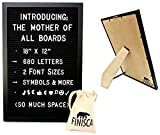 Black Frame Felt Changeable Letter Board 18''x12'' | 680 Letters & Easel Stand | Message Board by Finisca