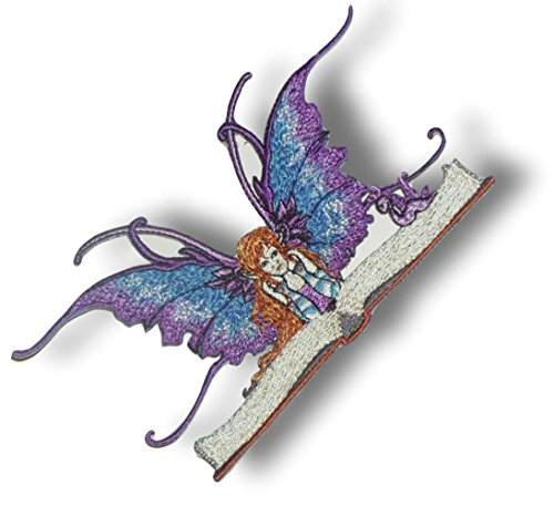 """[Single Count] Custom and Unique (3 1/8"""" x 5 3/4"""" Inch) Beautiful Colorful Fantasy Cute Mythical Fairy Reading a Giant Book w/Worm Iron On Embroidered Applique Patch {Purple, Blue, Black Colors}"""