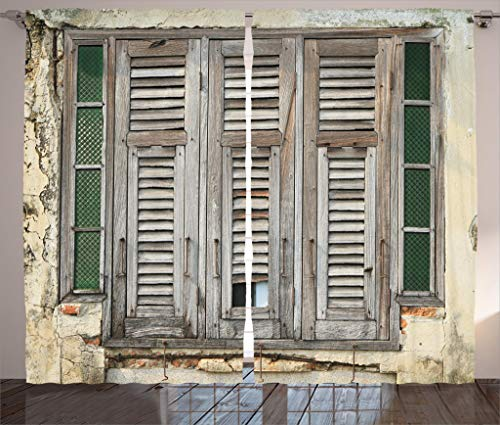 Ambesonne Shutters Decor Collection, Aged Weathered Wooden Window Blinds Rough Cracked Wall Vintage Home Decoration, Living Room Bedroom Curtain 2 Panels Set, 108 X 90 Inches, Beige Green