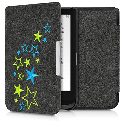 kwmobile Case for Pocketbook Touch Lux 4/Basic Lux 2/Touch HD 3 - Book Style Felt Fabric Protective e-Reader Cover Folio Case - Light Green/Blue/Dark Grey