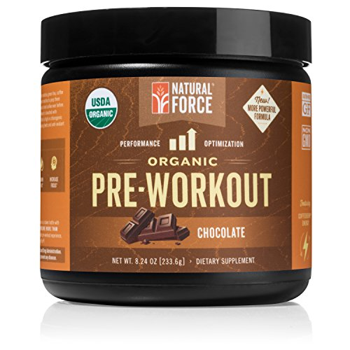 Organic Pre Workout - Chocolate *Best Preworkout Powder for Energy and Focus* Creatine Free Natural Supplement to Burn Fat and Build Muscle. Gluten Free, Non-GMO by Natural Force, 8.24 Ounce