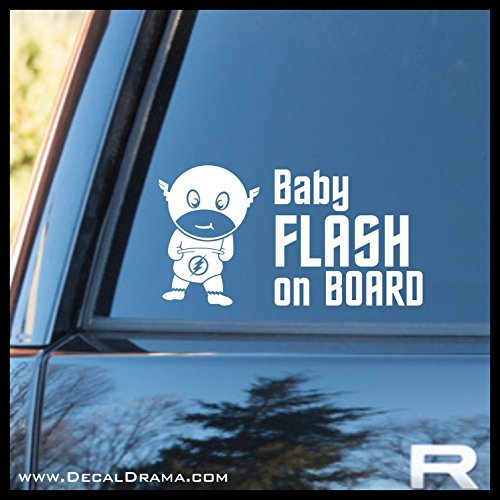 Baby Flash on Board Vinyl Decal | DC Comics Justice League The Flash Speedster STAR Laboratories Labs Central City Barry Allen | Cars Trucks Vans Laptops Cups Tumblers Mugs | Made in the USA ()