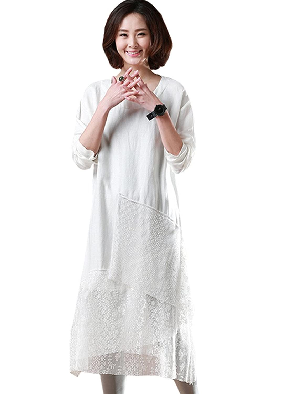 MatchLife Damen Spleiß Lace Langarm Kleider