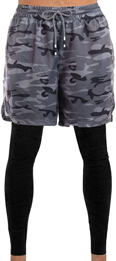 Basketball Shorts 2 in 1 Lightweight Running Leggings for Youth Boys/&Men Dry Fit Tights Pants with Pockets Black