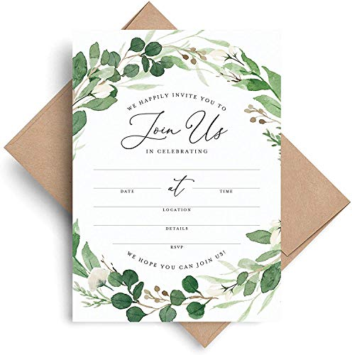 Bliss Collections Invitations with Envelopes for All Occasions, Eucalyptus Greenery Invites Perfect for: Weddings, Bridal Showers, Engagement, Birthday Party or Special Event, Pack of 25 5×7 Cards
