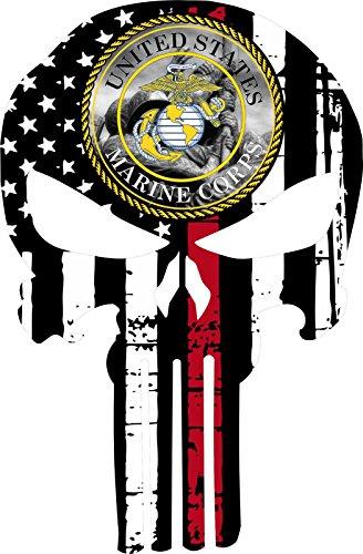 Corps Decal Marine Flag (Punisher Skull Marine Corps V3 Flag Window Decal Vinyl Sticker 6