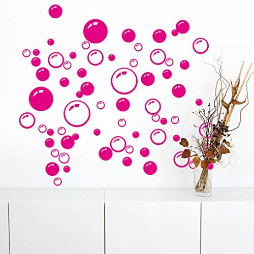 Pocciol Wall Stickers, Bubbles Circle Wall Wallpaper Removable Wall Wallpaper Bathroom Window Sticker Decal Home DIY (Hot Pink) - Hot Pink Wood