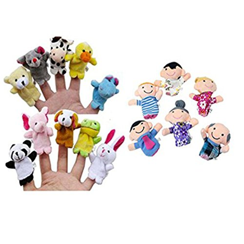 FUNIC 16PC Story Finger Puppets 10 Animals 6 People Family Members Educational Toy 4 Cotton Finger Puppets