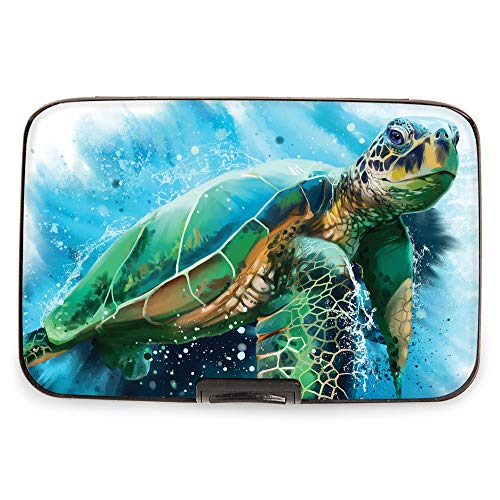 (Fig Design Group Armored Wallet RFID Secure Data Theft Protection Credit Card Case (Sea Turtle))
