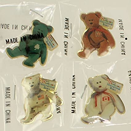 6a872a677b0 Image Unavailable. Image not available for. Color  TY McDonald s Teenie  Beanie Employee Pins - Set of 4 International Bears (Maple