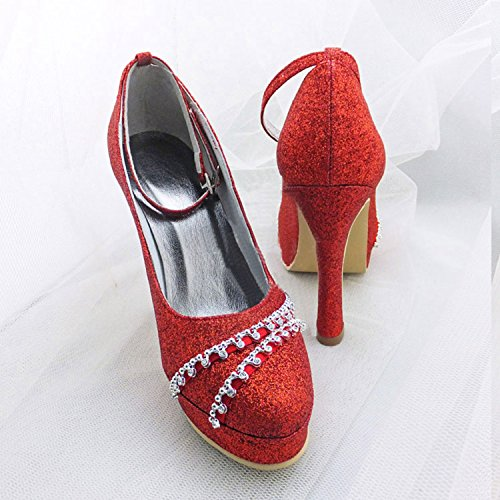 Bridal Heel Minitoo Toe Round Glitter Wedding Womens High Shoes Ankle Satin strap GYMZ642 Red px6npvg