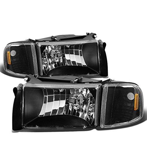 Dodge Ram 2nd Gen BR/BE Headlight Assembly+Corner Light/Lamp (Black Housing Amber Reflector) Amber Reflectors Black Housing