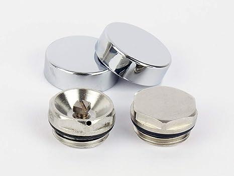 2 Tapas de Cromo para Radiador Toallero - Tapa Ciega y Ventila de Aire / Válvula