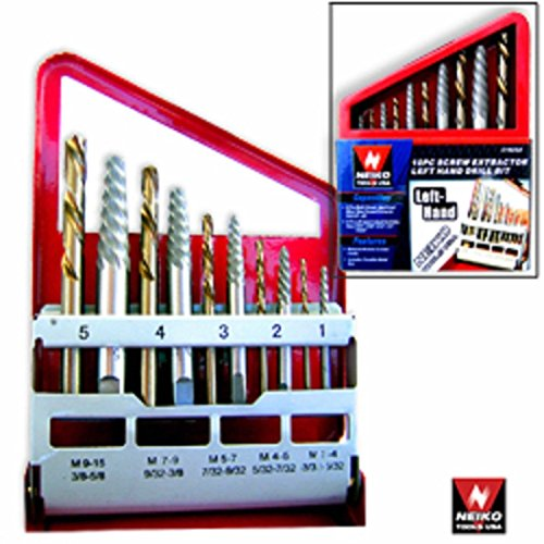 10pc Screw Extractor Easy Out Left Hand Drill Bit