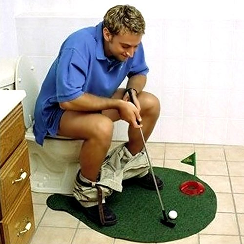 Zlimio Toilet Golf, Toilet Mini Golf Potty Putter Bathroom Game Putting Gift Toy Trainer Set