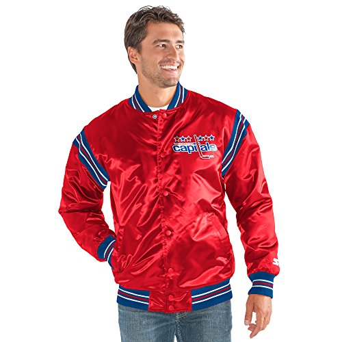 STARTER NHL Washington Capitals Men's The Enforcer Retro Satin Jacket, X-Large, Red
