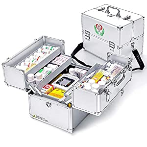 Nurth First Aid Kit Lockable First Aid Box Security Lock Medicine Storage Box with Portable Handle,Medication Lock Box 3…