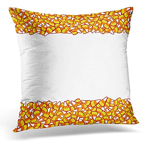 Decorative Pillow Cover Colorful Abstract Candy Corn Double Border White Halloween Sketchy October 31 Design for Party Orange Throw Pillow Case Square Home Decor Pillowcase 18x18 Inches