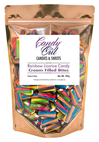 Licorice Filled - CandyOut Rainbow Twisters Licorice Candy Bites 2 Pounds Cream Filled Candy