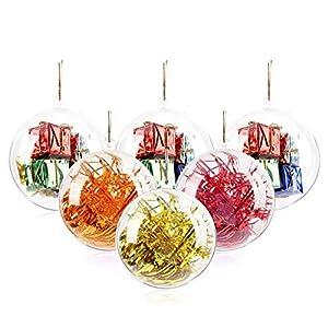 20 pcs palle di natale trasparenti, 40, 60, 80, 100 mm palle di ornamenti natalizi, decorazioni di Natale riempibili in plastica fai da te palle di albero palline artigianali palla trasparente 3 spesavip