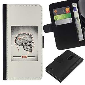 All Phone Most Case / Oferta Especial Cáscara Funda de cuero Monedero Cubierta de proteccion Caso / Wallet Case for LG G3 // Skull Grey Anatomy Brain Medical