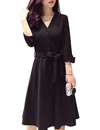 b6379ffeb4fe Liengoron Women's Fashion Long Sleeve Slim V-Neck Belt Mid Long Dress (Black ,