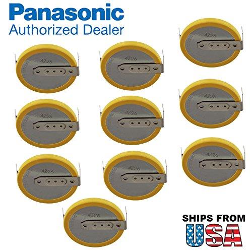 10x Panasonic CR-2032/HFN 3V Lithium Coin Battery Horz 2 Pins for PC Board  Panasonic CR2032-WR, B-313, CR2032-TPX  IBM CMOS Battery Part Numbers: