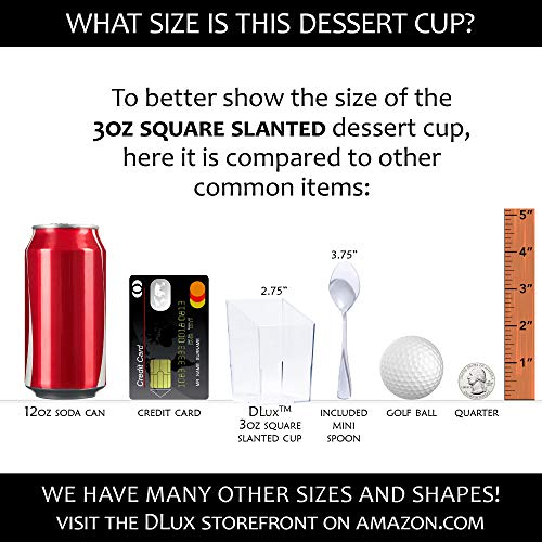 e9add35a2438 DLux 32 x 3 oz Mini Dessert Cups with Spoons, Square Slanted - Clear ...