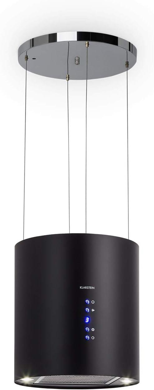Klarstein Barett - Campana extractora aislada, Ø 35cm, Potencia de 190 W, Ventilación máxima de 590 m³/h, 3 niveles de potencia, CEE B, Iluminación LED, Acero inoxidable cepillado, Negro