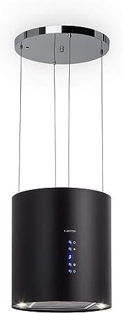 Klarstein Barett - Campana extractora aislada, Ø 35cm, Potencia de 190 W, Ventilación máxima de 590 m³/h, 3 niveles de potencia, CEE B, Iluminación LED, Acero inoxidable cepillado, Negro: Amazon.es: Hogar