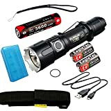 Klarus XT11S Tactical Flashlight Bundle CREE XP-L HI V3 LED 1100lms, Rechargeable 18650 and 2 CR123A Spare Batteries, Lanyard, Clip, O Ring, Holster, USB Charging Cable, TradingBuzz Battery Box