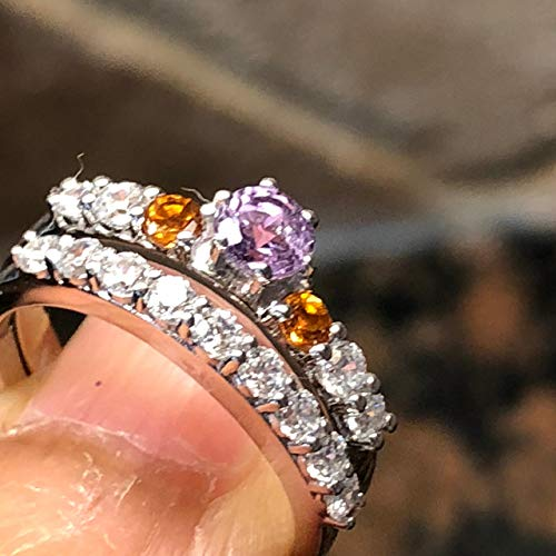 Natural 1ct Purple Amethyst, Golden Citrine White Sapphire 925 Solid Sterling Silver Designer Engagement Ring sz 6, 8