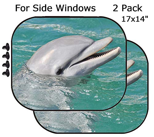 (MSD Car Sun Shade - Side Window Sunshade Universal Fit 2 Pack - Block Sun Glare, UV and Heat for Baby and Pet - Image ID: 8954062 Dolphin Smiling Close)