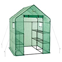 oGrow OG6868-PE Deluxe WALK-IN 2 Tier 8 Shelf Portable Lawn and Garden Greenhouse (Heavy Duty Anchors Included)