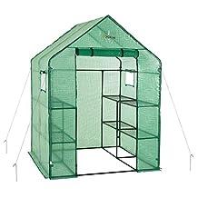 Ogrow Deluxe Walk-In 2 Tier 8 Shelf Portable Lawn and Garden Greenhouse, Green