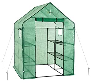 Ogrow Deluxe WALK-IN 2 Tier 8 Shelf Portable Lawn and Garden Greenhouse - Heavy Duty Anchors Included!