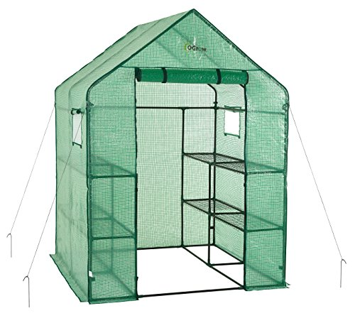 - OGrow OG6868-PE Deluxe Walk-in 2 Tier 8 Shelf Portable Lawn and Garden Greenhouse - Heavy Duty Anchors Included!