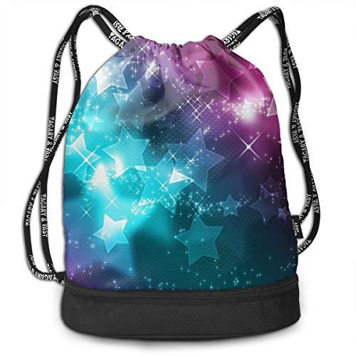 Portable Bundle Backpack, Cute Sparkly Stars Pattern Drawstring Bag For Girls & Boys, Gym Yoga Runner Sports Daypack]()